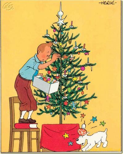 Postal de navidad de tintin